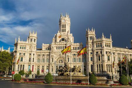 cibeles: Cibeles Palace and Cibeles fountain at Plaza de Cibeles in Madrid in a beautiful summer day  in Madrid