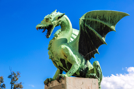 blue dragon: Dragon bridge in a summer day in Ljubljana, Slovenia