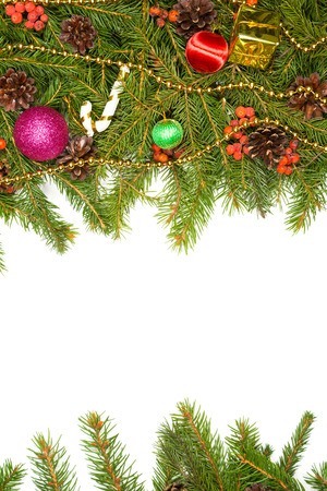 christmas decorations with white background: Christmas background with balls and decorations isolated on white background Stock Photo