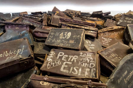 nazi: OSWIECIM, POLAND - JULY 22: Bags of victims in Auschwitz. It is the biggest nazi concentration camp in Europe on July 22, 2014 in Oswiecim, Poland Editorial