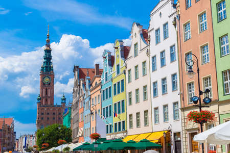 neptun: Long Street in Gdansk, Poland. Street is one of the most notable tourist attractions of the city. Stock Photo