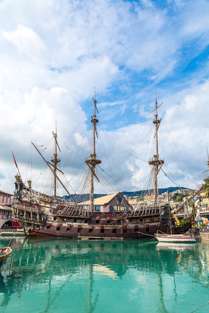 old ship: Galeone old wooden ship in a summer day in Genoa, Italy Stock Photo