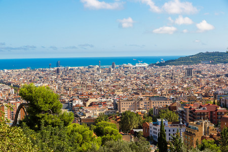 barcelona cathedral: Panoramic view of Barcelona from Park Guell in a summer day in Spain Stock Photo
