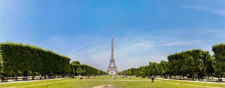 The Eiffel Tower in Paris, France in a beautiful summer day Editorial