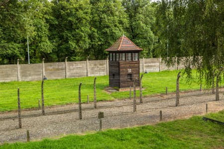 jewish houses: German concentration camp Auschwitz in Poland in summer day Editorial
