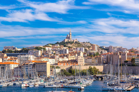 Aerial panoramic view on basilica of Notre Dame de la Garde and old port  in Marseille, France 스톡 콘텐츠
