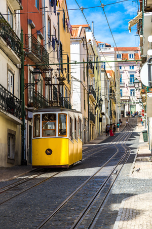 gloria: The Gloria Funicular in the city center of Lisbon, Portugal in a summer day