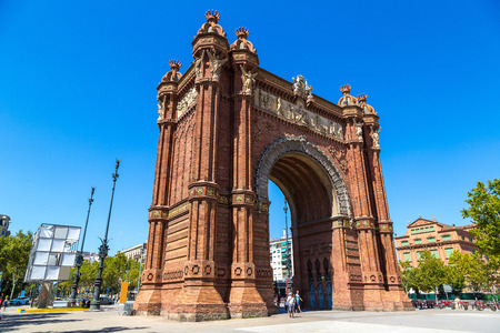 barcelona spain: Triumph Arch of Barcelona in a summer day in Barcelona, Spain Stock Photo