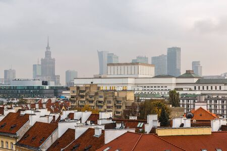 warszawa: Panoramic view of Warsaw in a summer day n Poland