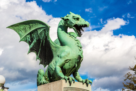 blue dragon: Dragon bridge in a summer day in Ljubljana, Slovenia