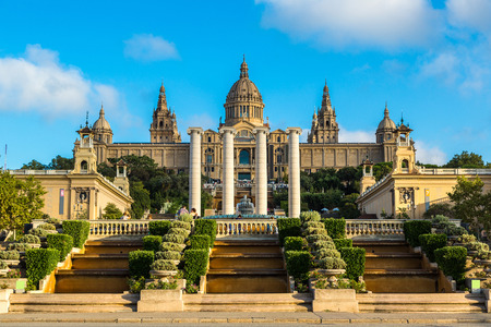 museums: Placa de Ispania (The National Museum) in Barcelona, Spain in a summer day