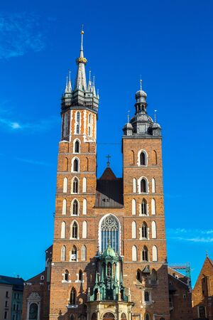 mary's: St. Marys Church in Krakow in a summer day, Poland