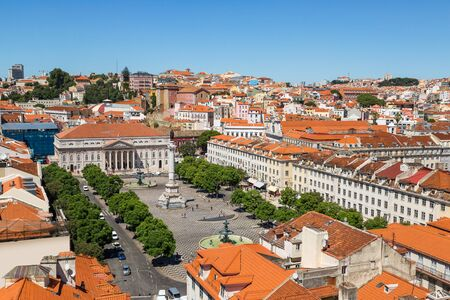 jorge: Aerial view of Lisbon, Portugal. Sao Jorge Castle Stock Photo