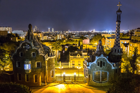 Park Guell in Barcelona, Spain in a summer night