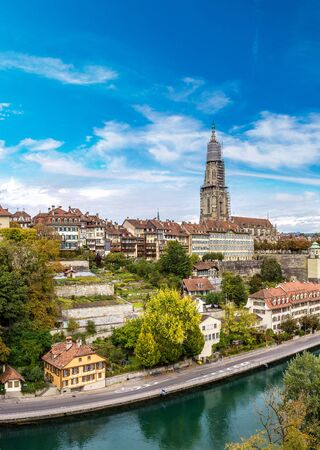 berner: Panoramic view of Bern and Berner Munster cathedral in Switzerland Editorial