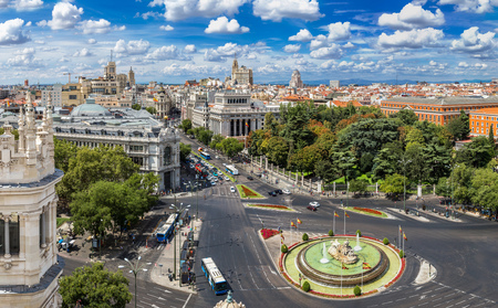 center city: Aerial view of Cibeles fountain at Plaza de Cibeles in Madrid in a beautiful summer day, Spain Editorial