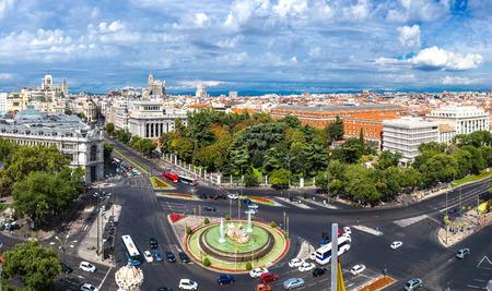 cibeles: Aerial view of Cibeles fountain at Plaza de Cibeles in Madrid in a beautiful summer day, Spain Editorial