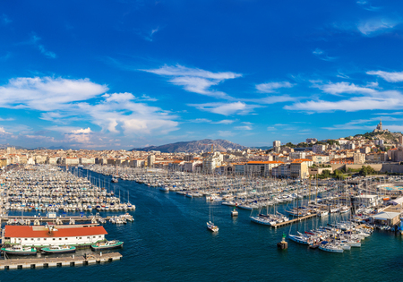 garde: Aerial panoramic view on basilica of Notre Dame de la Garde and old port  in Marseille, France Editorial