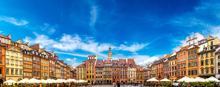 town houses: Old town square in Warsaw in a summer day, Poland Editorial