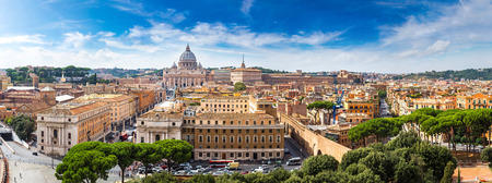 st  peter's basilica pope: Panorama of Rome and Basilica of St. Peter in a summer day in Vatican Stock Photo