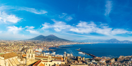Napoli (Naples) and mount Vesuvius in the background at sunset in a summer day, Italy, Campania