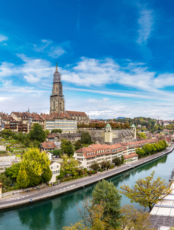 berner: Panoramic view of Bern and Berner Munster cathedral in Switzerland Stock Photo