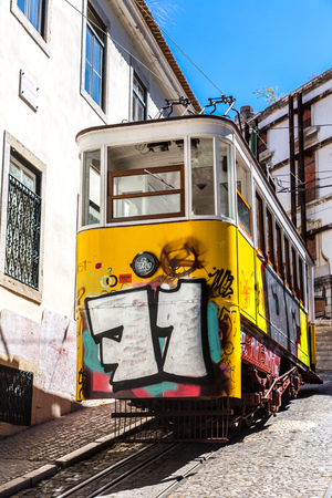 gloria: LISBON, PORTUGAL - JULY 30 : The Gloria Funicular in the city center of Lisbon  on July 30 2014 in Lisbon, Portugal