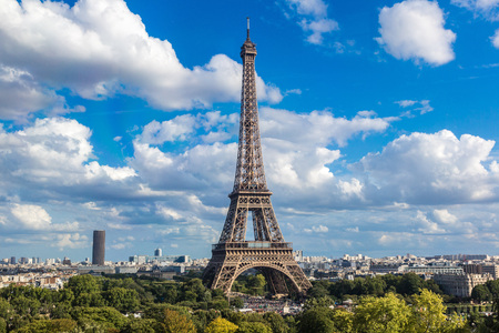 paris france: Aerial view of the Eiffel Tower in Paris, France in a beautiful summer day