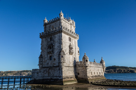 belem: Belem Tower on the Tagus river in Lisbon, Portugal Editorial
