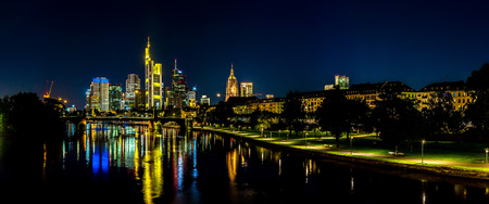 river main: View of Frankfurt am Main skyline at sunset in Germany