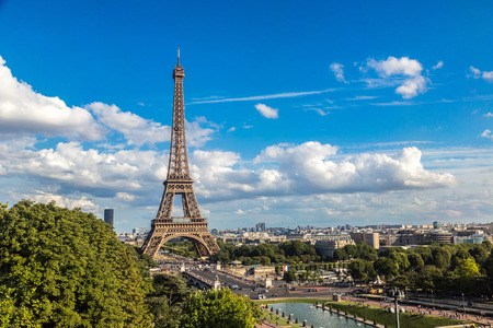 Eiffel Tower: Aerial view of the Eiffel Tower in Paris, France in a beautiful summer day