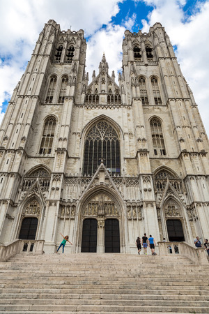 st  michel: St. Michel Cathedral in a beautiful summer day in Brussels, Belgium