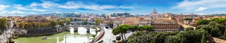 panorama: Panorama of Rome and Basilica of St. Peter in a summer day in Vatican Stock Photo