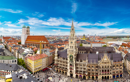 at town square: Aerial view on Marienplatz town hall and Frauenkirche in Munich, Germany Stock Photo