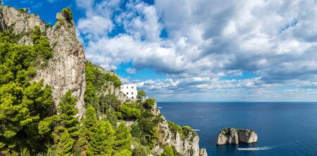 panoramic view: Capri island in a beautiful summer day in Italy