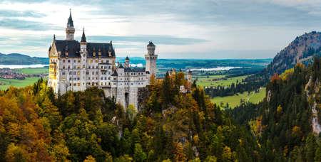 neuschwanstein: Neuschwanstein castle in a summer night in Germany Editorial