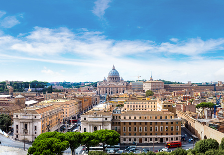 rome: Panorama of Rome and Basilica of St. Peter in a summer day in Vatican Stock Photo