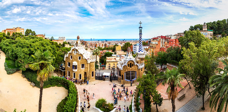 barcelona spain: Park Guell by architect Gaudi in a summer day  in Barcelona, Spain. Stock Photo