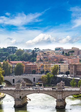 rome: Panoramic view above Rome and Tiber in a summer day in Rome, Italy Stock Photo