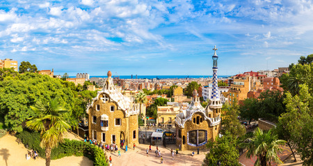 barcelona spain: Park Guell by architect Gaudi in a summer day  in Barcelona, Spain. Editorial