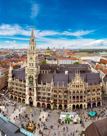 and germany: Aerial view on Marienplatz town hall in Munich, Germany Stock Photo
