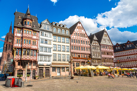 Old traditional buildings in Frankfurt, Germany  in a summer day Stok Fotoğraf