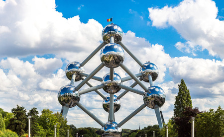 Atomium structure in summer day in Brussels, Belgium