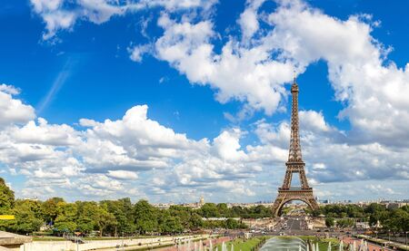 panoramic: Panoramic view of Eiffel Tower most visited monument in France and the most famous symbol of Paris