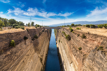 seaway: Corinth channel in Greece in a summer day