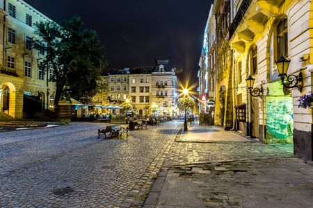 lvov: Market square - historical and tourist centre of Lvov, Ukraine in a summer night