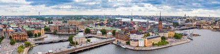 stan: Scenic summer aerial panorama of the Old Town (Gamla Stan) in Stockholm, Sweden