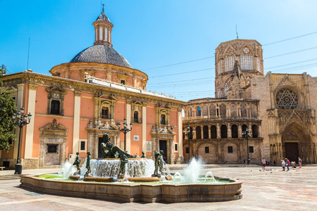 Square of Saint Marys and fountain Rio Turia  in Valencia in a summer day, Spain
