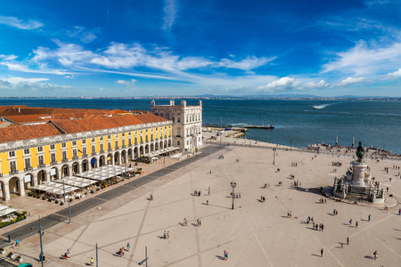 portugal: Praca do Comercio and statue of King Jose I in Lisbon, Portugal in a summer day