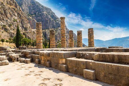 delphi: The Temple of Apollo in Delphi, Greece in a summer day